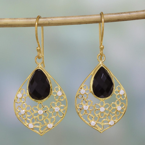 Black Onyx and Cubic Zirconia Dangle Earrings from India 'Garden of the Night'