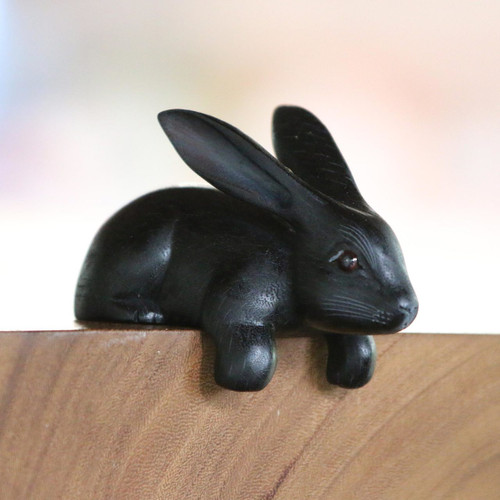 Handcrafted Suar Wood Rabbit Sculpture in Black from Bali 'Curious Rabbit in Black'