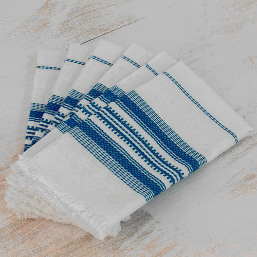 Striped 100% Cotton Napkins from Guatemala (Set of 6) 'Cheerful Kitchen in Blue'
