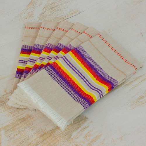 Striped 100% Cotton Napkins from Guatemala (Set of 6) 'Sunset Dinner'