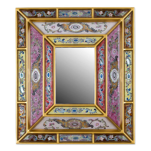 Reverse Painted Glass Mirror with Floral Motifs from Peru 'Florid Majesty'