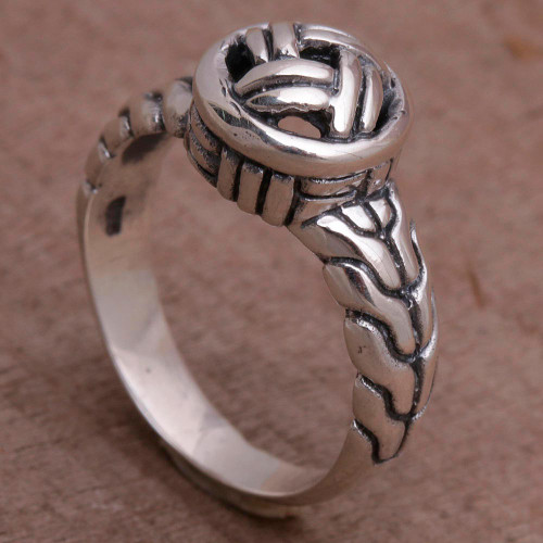 Sterling Silver Woven Design Cocktail Ring from Bali 'Woven Crown'