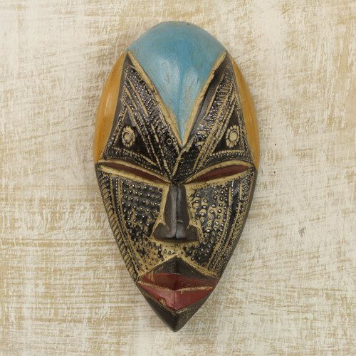 Hand Carved West African Wood Mask with Aluminum Accents 'Bheka'