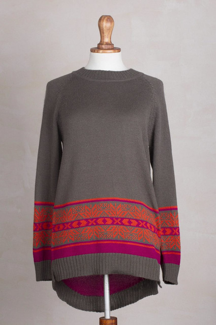Artisan Crafted Alpaca Blend High-Low Sweater from Peru 'Magenta Dream'