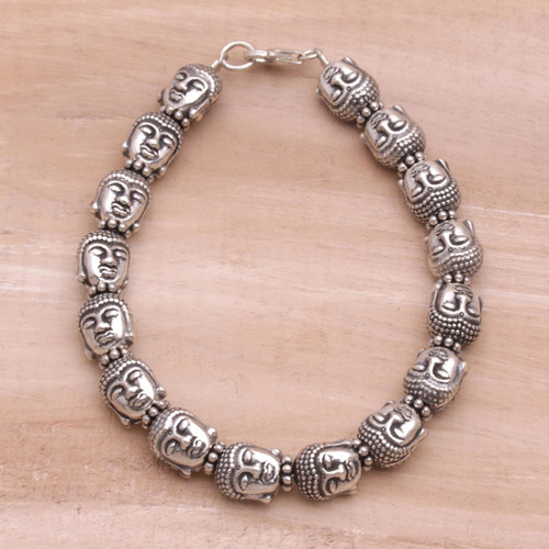 Sterling Silver Buddha Head Beaded Bracelet from Bali 'Buddha Guardians'