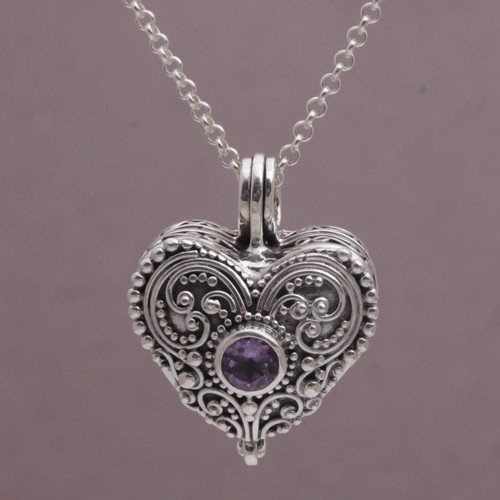 Heart Shaped Sterling Silver and Amethyst Locket Necklace 'Love Memento'