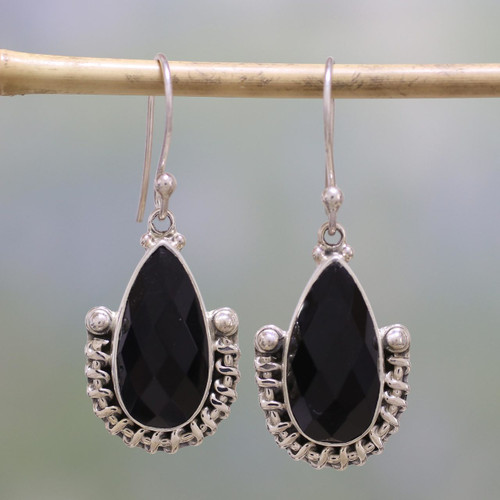 Handmade Onyx and Sterling Silver Dangle Earrings from India 'Magical Night'
