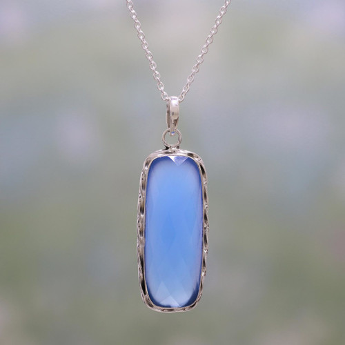 Blue Chalcedony and Sterling Silver Pendant Necklace 'Sea of Blue'