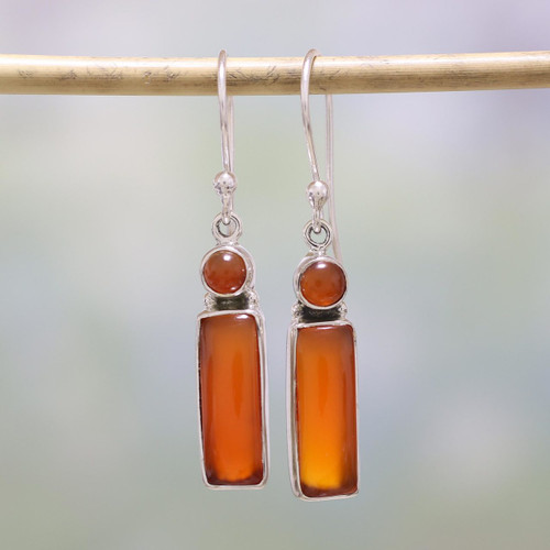 Carnelian and Sterling Silver Dangle Earrings from India 'Orange Allure'