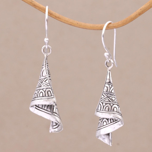Sterling Silver Cultural Dangle Earrings from Bali 'Shining Songket'