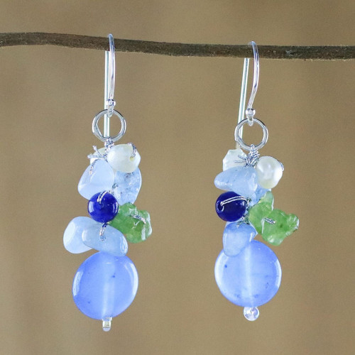 Blue Quartz Multi-Gemstone Dangle Earrings from Thailand 'Soda Bubbles'