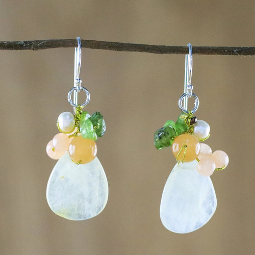 Quartz Multi-Gemstone Dangle Earrings from Thailand 'Soft Drops'