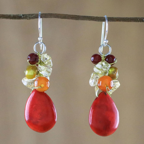 Multi-Gemstone Red Calcite Dangle Earrings from Thailand 'Camellia Drops'