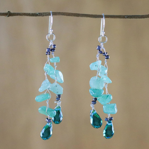 Green Quartz and Glass Bead Dangle Earrings from Thailand 'Crystalline Drops in Green'