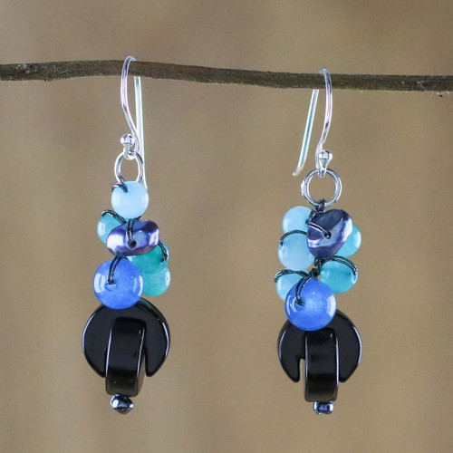 Onyx Multi-Gemstone Dangle Earrings from Thailand 'Tidal Wave in Blue'