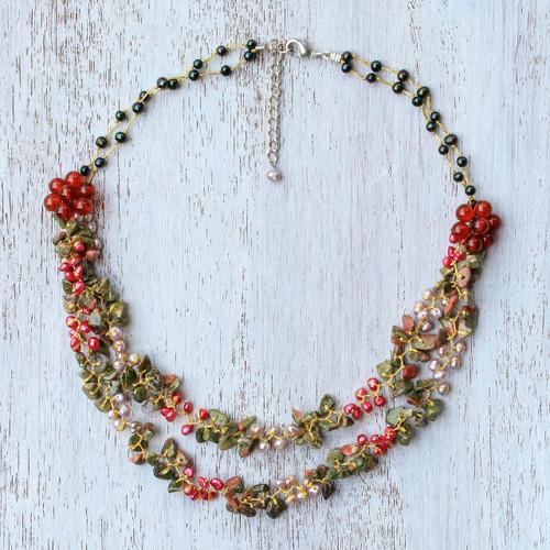 Multi-Gemstone Carnelian Beaded Necklace from Thailand 'Flawless Fruit in Scarlet'