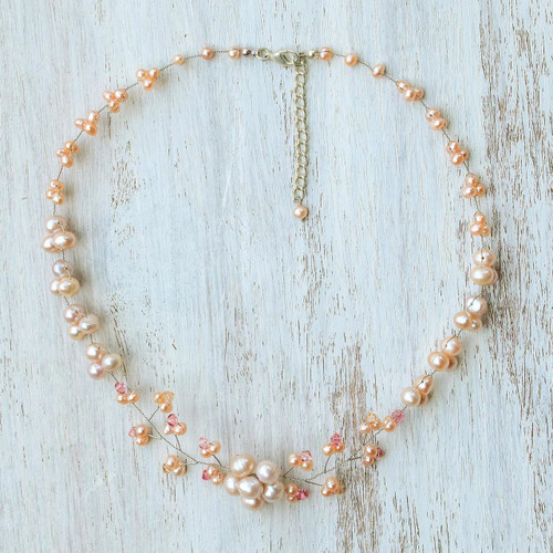 Cultured Pearl and Glass Beaded Necklace from Thailand 'Pink Cherry Blossom'