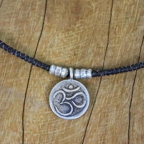 Karen Silver Om Pendant Necklace from Thailand 'Spiritual Karen'