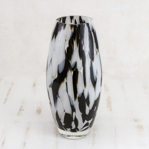 Hand Blown Murano-Style Art Glass Vase in Black and White 'Elegant Drip'