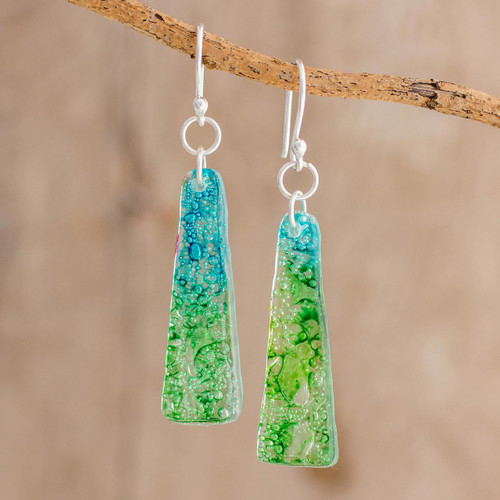 Recycled CD Earrings on 925 Silver Hooks Handcrafted Jewelry 'Peaceful Life'