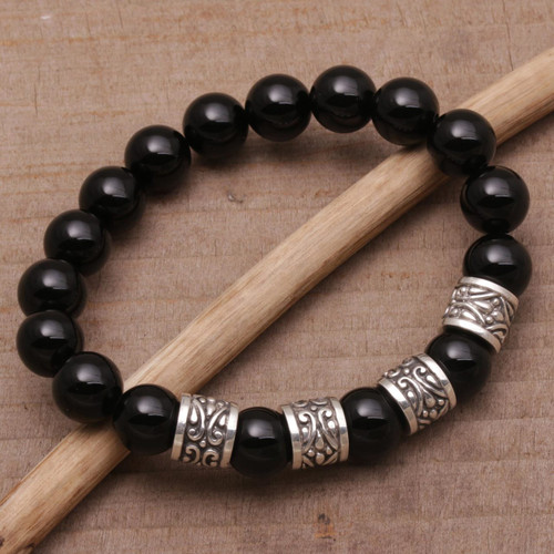 Onyx and 925 Silver Beaded Stretch Bracelet from Bali 'Shrine Shadow'
