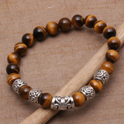 Tiger's Eye Beaded Stretch Bracelet from Bali 'Earthen Temple'