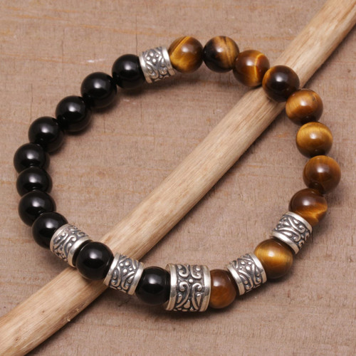 Tiger's Eye and Onyx Beaded Stretch Bracelet from Bali 'Batuan Renaissance'