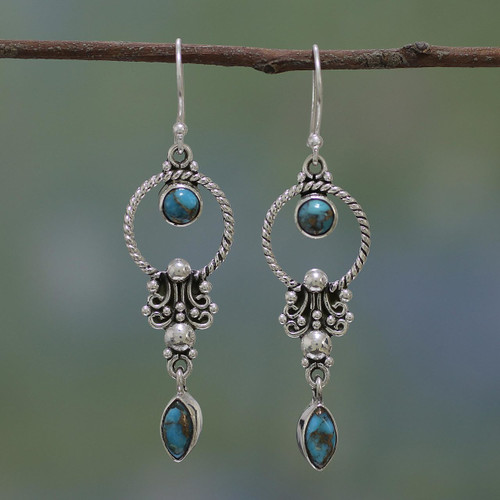 Sterling Silver and Composite Turquoise Earrings from India 'Forms of Love'