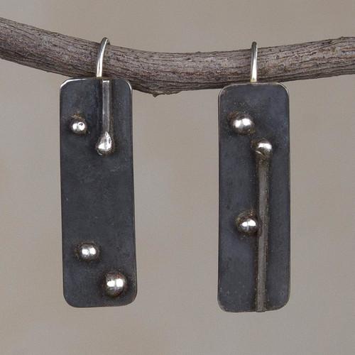 Oxidized Sterling Silver Drop Earrings from Peru 'Silver Secrets'