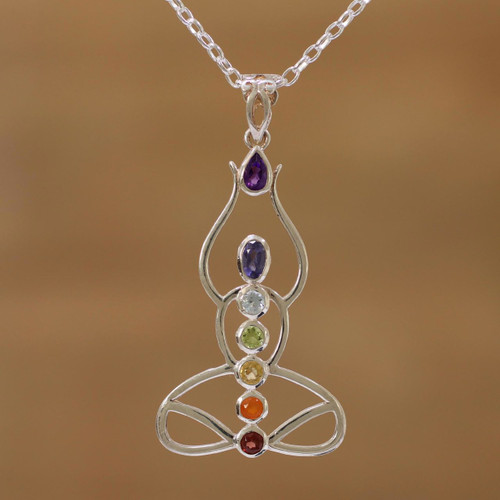 Multi-Gemstone Chakra Meditation Pendant Necklace from India 'Harmonious Mind'
