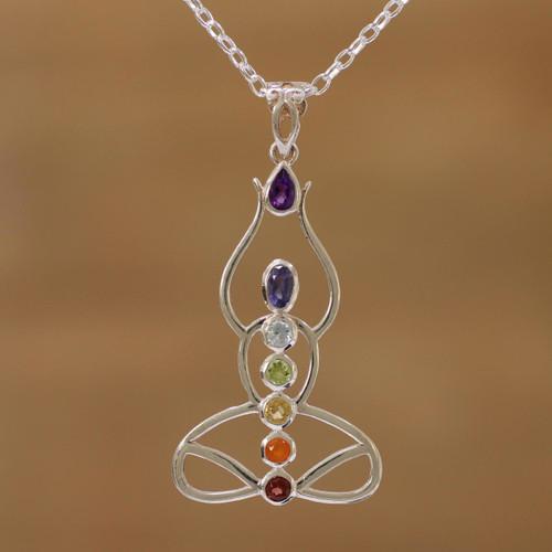 Multi-Gemstone Chakra Meditation Pendant Necklace from India 'Harmonious Mind'