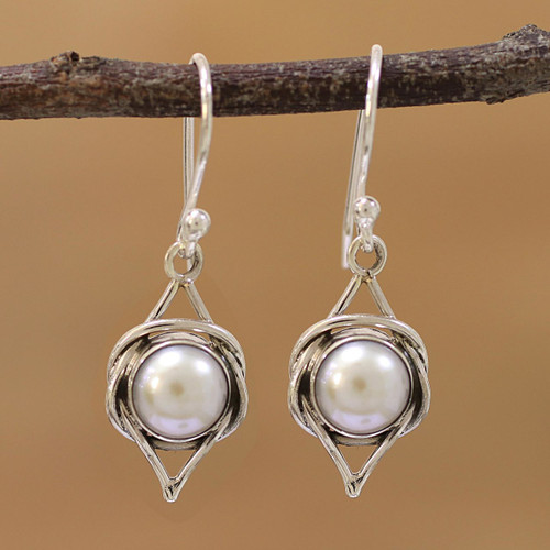 Indian Cultured Pearl and Sterling Silver Dangle Earrings 'Intricate Twirl'