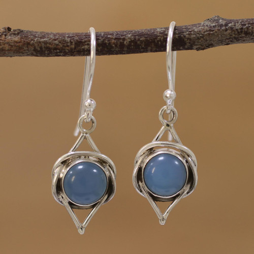 Indian Blue Chalcedony and Sterling Silver Dangle Earrings 'Intricate Twirl in Blue'