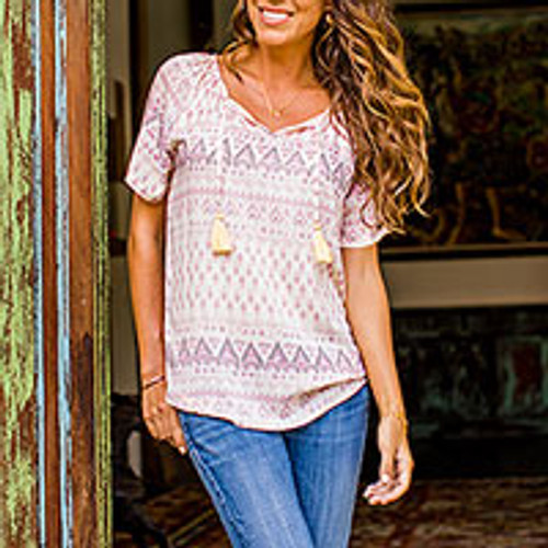 Balinese Short Sleeved Pale Yellow and Purple Rayon Blouse 'Plains of Bali'