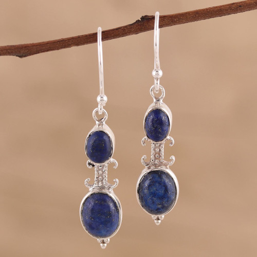 Artisan Handmade Lapis Lazuli 925 Sterling Silver Earrings 'Blue Aura'