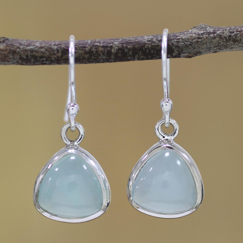 Sterling Silver and Aqua Chalcedony Dangle Earrings 'Gleaming Pyramids'