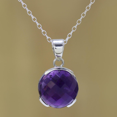 Amethyst and Sterling Silver Pendant Necklace from India 'Dazzling Purple'