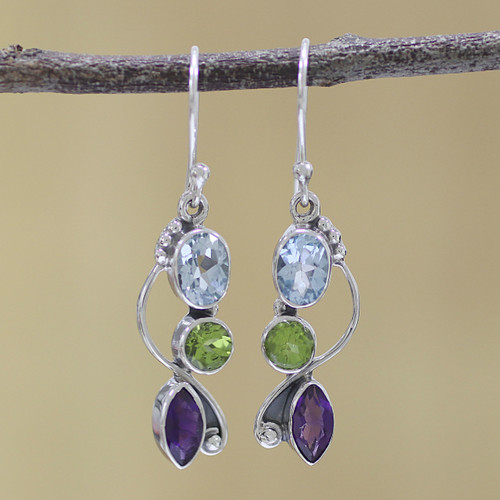 Blue Topaz Peridot Amethyst Sterling Silver Dangle Earrings 'Shimmering Alliance'