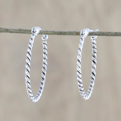 Handmade Sterling Silver Twisted Hoop Earrings from Thailand 'Spiral Onwards'