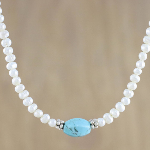 Cultured Pearl Beaded Necklace from Thailand 'Turquoise Romance'