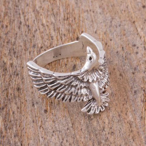 Men's Sterling Silver Eagle Ring from Mexico 'Bird in Flight'
