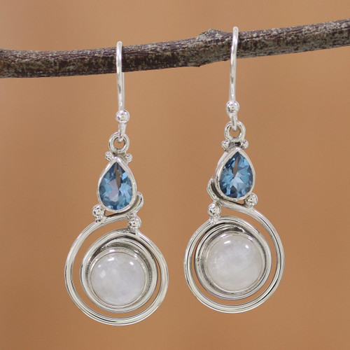 Moonstone and Blue Topaz Sterling Silver Earrings from India 'Blissful Fusion'