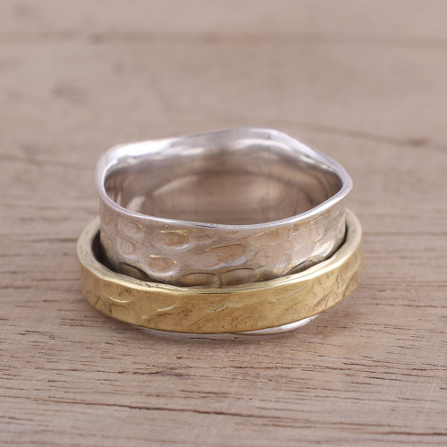Sterling Silver and Brass Meditation Ring from India 'Contrasting Beauty'