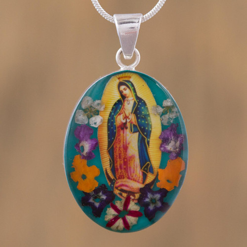 Religious Natural Flower Pendant Necklace from Mexico 'Floral Guadalupe'