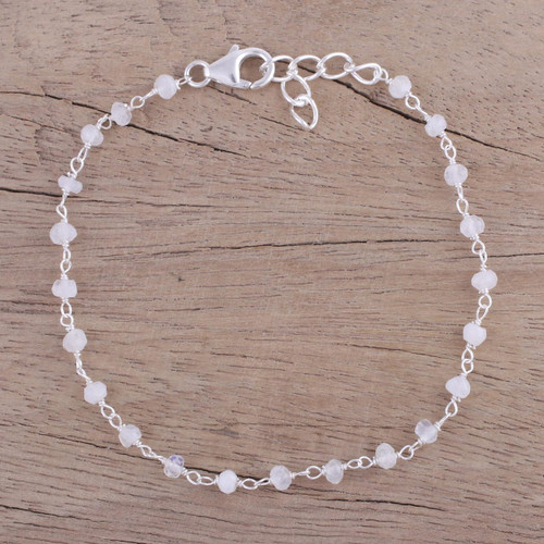 Handmade Rainbow Moonstone Link Bracelet from India 'Beautiful Saga'
