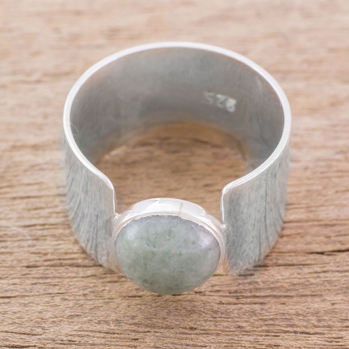 Modern Jade and Sterling Silver Cocktail Ring from Guatemala 'Magic Stone'