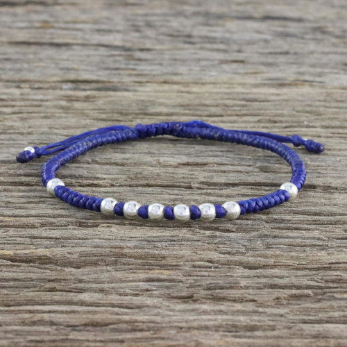Ultramarine Cord Bracelet with 950 Silver Beads 'Hill Tribe Ultramarine'