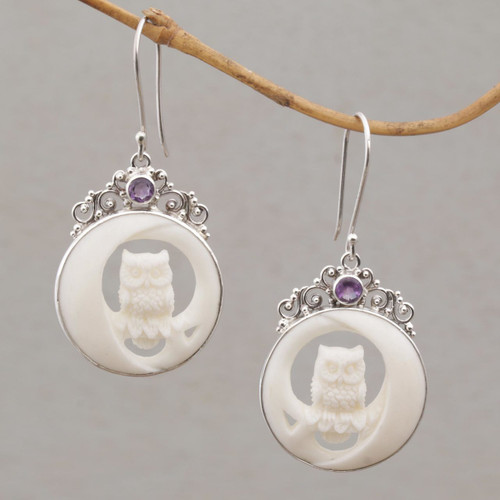 Polished Bone Owl Dangle Earrings with Amethysts 'Owls on Watch'