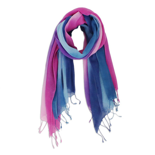 Two Handwoven Ombre Cotton Wrap Scarves from Thailand 'Innocent Colors'