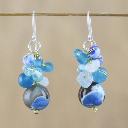 Blue Quartz and Glass Bead Dangle Earrings from Thailand 'Lovely Blend in Blue'
